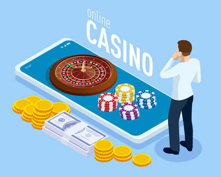 Isometric Smartphone with Coins and Roulette. Online casino gambling concept.
