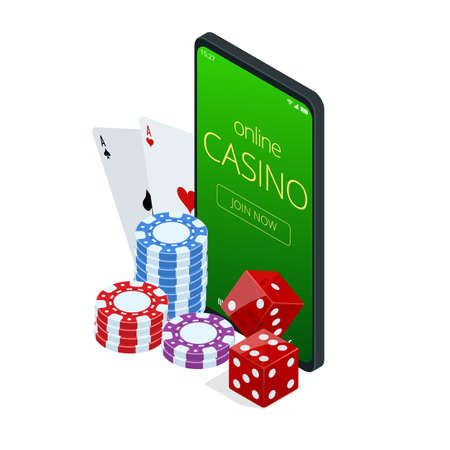 Internet poker game. Poker cards, chips game elements. Isometric Online Casino Gambling Concept.