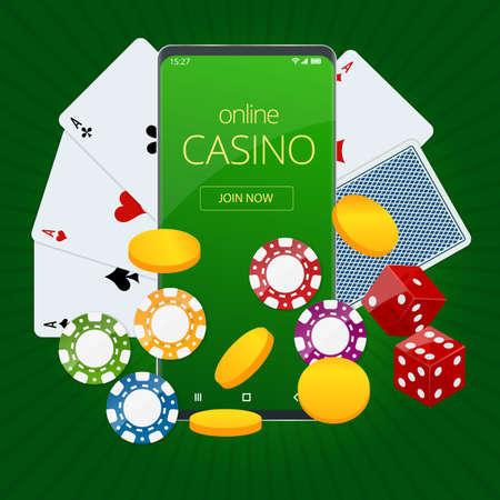 Internet poker game. Poker cards, chips game elements. Online Casino Gambling Concept.