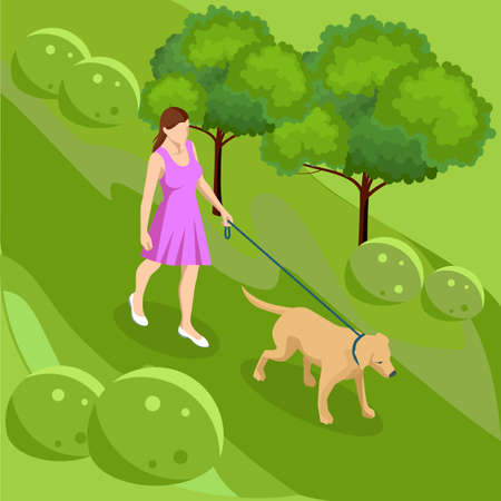 Isometric girl in casual clothes walking in park with golden retriever. Season winter, spring, summer, autumn. Pet care concept. Front view
