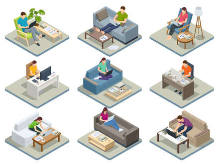 Isometric business man amd woman working at home with laptop and papers on desk. Freelance or studying concept. Online meeting work form home. Home office. Vector Illustration