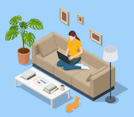 Isometric business woman working at home with laptop and papers on desk. Freelance or studying concept. Online meeting work form home. Home office.