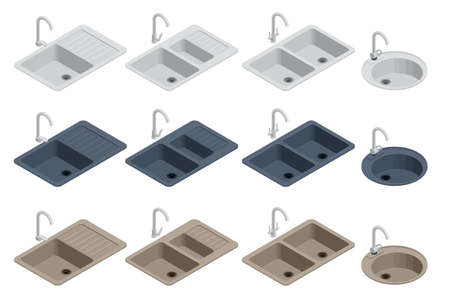 Isometric various elements kitchen sink with tap isolated on white background for creating a kitchen design.