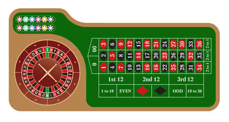 American style roulette wheel and table vector illustration. Casino popular gambling. Poker. Game of fortune.