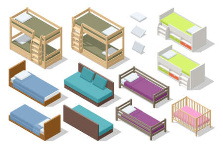 Isometric set of different types of beds for children and teenagers isolated on white. Icons of wooden furniture. 向量圖像