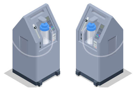 Isometric Home Medical Oxygen Concentrator. Medical oxygen concentrators for patients with COVID-19. Vecteurs