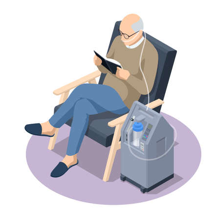 Isometric Home Medical Oxygen Concentrator. Concept of healthcare, life, pensioner. Senior man with Chronic obstructive pulmonary disease with supplemental oxygen