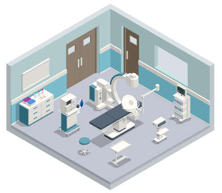 Isometric Equipment and Medical Devices in Modern Operating Room. Medical Devices for Neurosurgery. Vector illustration isolated on a white background.