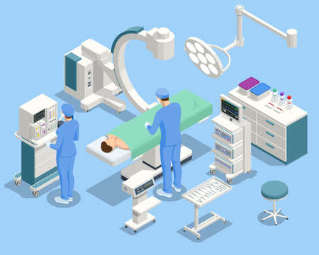 Isometric Equipment and Medical Devices in Modern Operating Room. Medical Team Performing Surgical Operation in Modern Operating Room Çizim