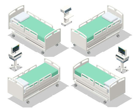 Isometric Hospital Bed isolated. Empty Bed On Hospital Ward