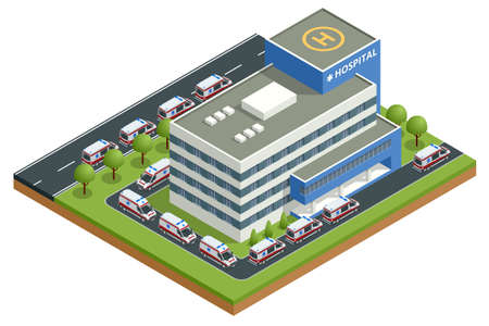Isometric city hospital and a line of ambulances. There is a place for a helicopter on the roof. Health and medicine