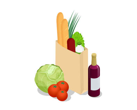 Isometric different food in paper bag on wooden background. Organic fruits, vegetables and greens isolated on white.