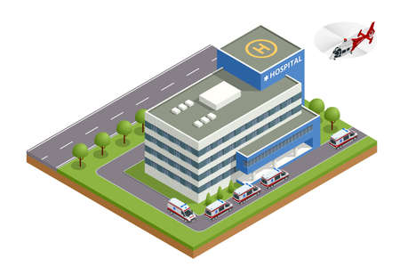 Isometric city hospital, helicopter and ambulance. There is a place for a helicopter on the roof. Health and medicine
