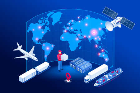 Isometric Global logistics network concept. Freight shipping. Satellite tracks the movement of freight transport. Maritime, air shipping transport logistic, warehouse storage concept, export or import