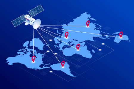 Isometric Global logistics network concept. Freight shipping. Satellite tracks the movement of freight transport. Maritime, air shipping transport logistic, warehouse storage concept, export or import  イラスト・ベクター素材