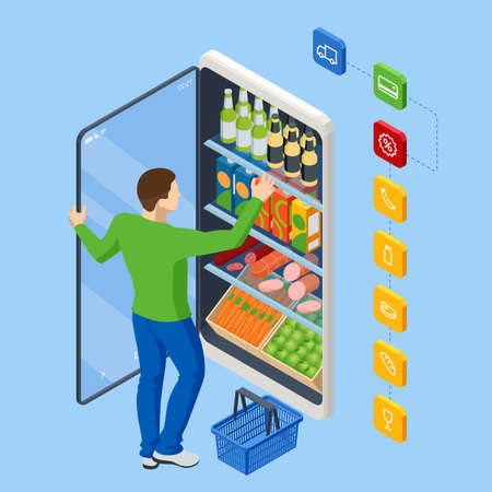 Isometric Grocery Supermarket, Food and Eats Online Buying and Delivery. E-commerce concept order food online website. Health food delivery online service.