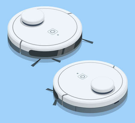 Isometric Robotic Vacuum Cleaner. Smart home. Robot vacuum cleaner communicates with the smartphone via wireless.