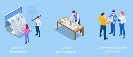 Isometric Construction Project Management, Architectural Project Planning, Development and Approval. Scheme of House, Engineer industry. Construction Company Business.