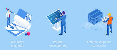 Isometric Construction Project Management, Architectural Project Planning, Development and Approval. Scheme of House, Engineer industry. Construction Company Business. Ilustracja