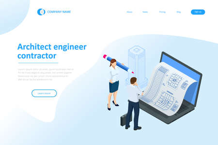 Isometric Construction Project Management, Architectural Project Planning, Development and Approval Web Banner or Landing Page. Scheme of House, Engineer industry. Construction Company Business. 矢量图像