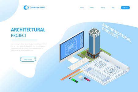 Isometric Construction Project Management, Architectural Project Planning, Development and Approval Web Banner or Landing Page. Scheme of House, Engineer industry. Construction Company Business. Ilustracja