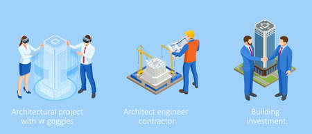Isometric Construction Project Management. Professional Contractors and Engineers Characters. Building Investment