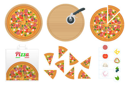 Isometric delicious pizza with ingredients and spices. Slice of fresh Italian classic Pizza isolated on white background. Hot Tasty Pizza, used for design and branding.