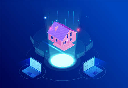 Isometric house architectural project. Virtual interactive interface. Engineer uses the virtual interface for augmented reality in the architectural design of the house.
