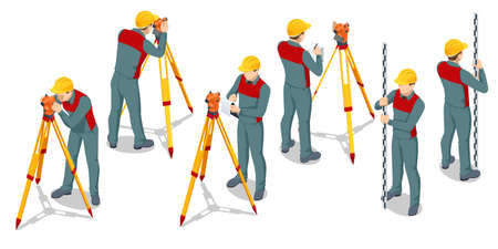 Isometric surveying measuring equipment level theodolite on tripod isolated on white background. Professional engineer surveyor takes measures with theodolite. Construction measuring tool