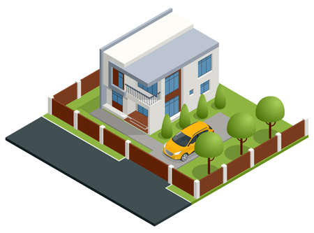 Isometric Apartment house. Building, cottage, villa. Modern cozy house in chalet style with garage for sale or rent with large garden and lawn.