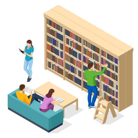 Isometric Bookshelves in the Library. Books in public library. Learning and education concept. People studying together at the library