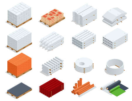 Isometric building products icons. Ferro-concrete items, Concrete elements, pipes, iron roof, cement, concrete and brick