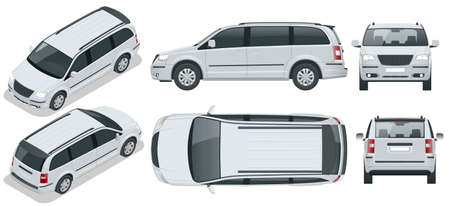 Passenger Van or Minivan Car vector template on background. Compact crossover, SUV, 5-door minivan car. View isometric, front, rear, side, top.