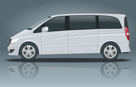 Electric Minivan with Premium Touches, Passenger Van or Minivan Car vector template on white background. MPV, SUV, 5-door minivan car. View side