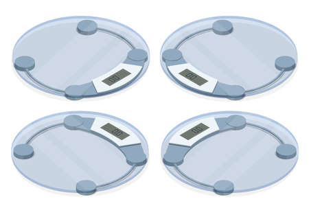 Isometric Bathroom Scales on white background, top view. Weight loss, healthy lifestyles, diet, proper nutrition.