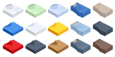 Set clothes isometric shirt, t-shirt, sweater, jeans. Big t-shirt template collection of different colors.