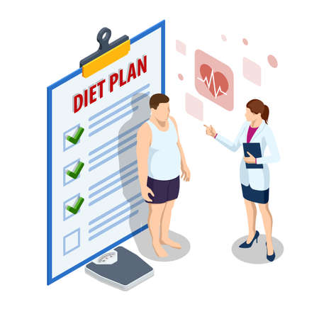 Isometric Healthy food and Diet planning. Healthy eating, personal diet or nutrition plan from dieting expert. Doctor s consultation for an overweight patient. Health risk, obesity.