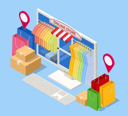 Isometric Smart phone online shopping, clothing store concept. Online shopping e-commerce. Modern shopping app on smart phone. Buying clothes on web site or app.