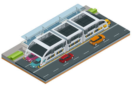 Isometric Transit Elevated Bus in China. Straddling bus, straddle bus, tunnel bus Road vehicle designed to carry many passengers.