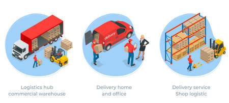 Isometric Logistics and Delivery Infographics. Delivery home and office. City logistics. Online Express, Free, Fast Delivery, Shipping concept. Vettoriali