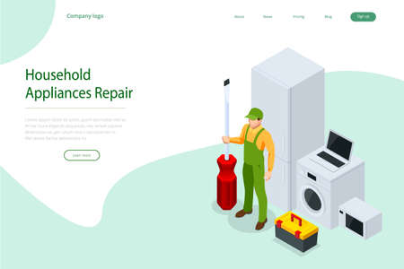 Isometric household appliances repair concept. Repair support service