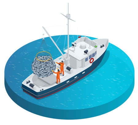 Isometric shipping seafood industry boat isolated on white background. Sea fishing, ship marine industry, fish boat. Fishing boat, fishing vessel.
