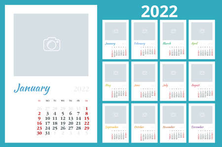 Calendar Planner for 2022. Calendar template for 2022. Stationery Design Print Template with Place for Photo, Your Logo and Text. Corporate and business horizontal calendar.
