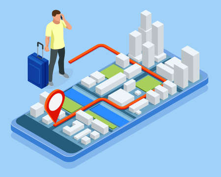 City app, traveling backpacker. Isometric gps navigation concept. Tourist traveling using his smartphone with previously saved favorite places on map. Vektorové ilustrace