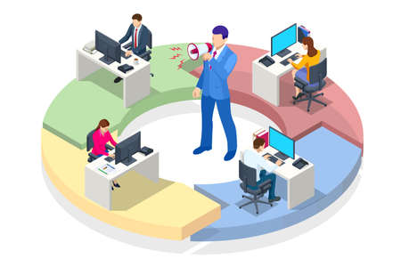Isometric Project deadline. Time management on the road to success. Deadline Concept of overworked man Time to work Time management project plan schedule. Vector Illustratie