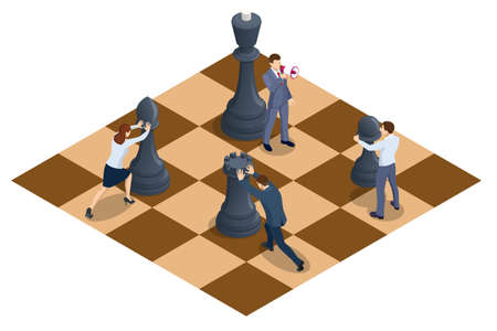 Concept business strategy. People moving chess pieces on chess board. Isometric businessmen and women playing chess game reaching to plan strategy for success.