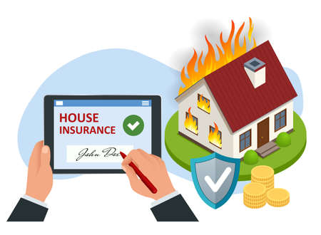 Isometric house insurance policy concept. House insurance business service. Property insurance policy signing. Protection from danger, providing security. Vektorgrafik