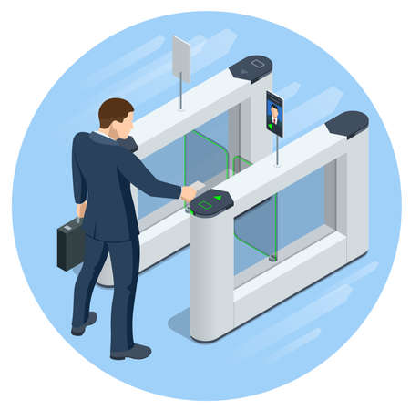 Isometric Turnstile. Access control equipment. Magnetic card access turnstiles. Electronic turnstile. Automatic checkpoint. Building security