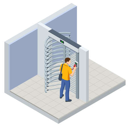 Isometric Full height turnstile security system. Security gates. Access control equipment. Magnetic card access turnstiles. Electronic turnstile. Automatic checkpoint. Building security