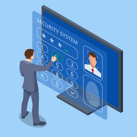 Isometric facial recognition system concept. Finger print scan for enter security system, Biometric access control. Digital touch scan identification or electronic sensor authentication.